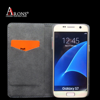 Premium book opening crazy horse pu leather phone case for samsung s7 edge case