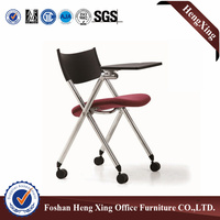 Space saving with writing table foldable training chair & folding plastic chair (HX-5CH041)