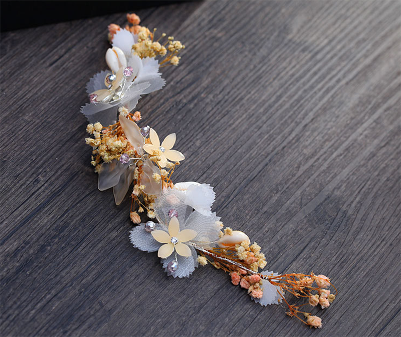 New Handmade Pink Flower Crystal Headband For Wedding Hair Accessories Brilliant Bride princess Headpiece Pearl Hair Jewelry