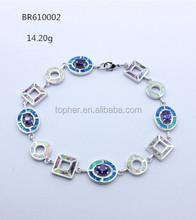 new fashion 925 silver multicolor opal polymorphic link bracelet