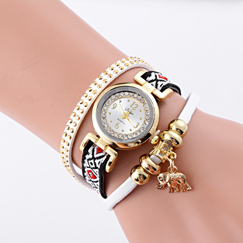 New Luxury Duoya 코끼리 펜 던 트 Watch Women Bracelet Wrist Watch