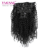 Kinky curly virgin brazilian remy clip-in hair extensions