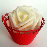 2015Teda ZB-003 Free Shipment Pearl Red Happy Birthday Paper Cup Cake Wrappers
