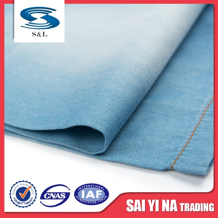 100 cotton woven printed stripe blue denim flame retardant fabric