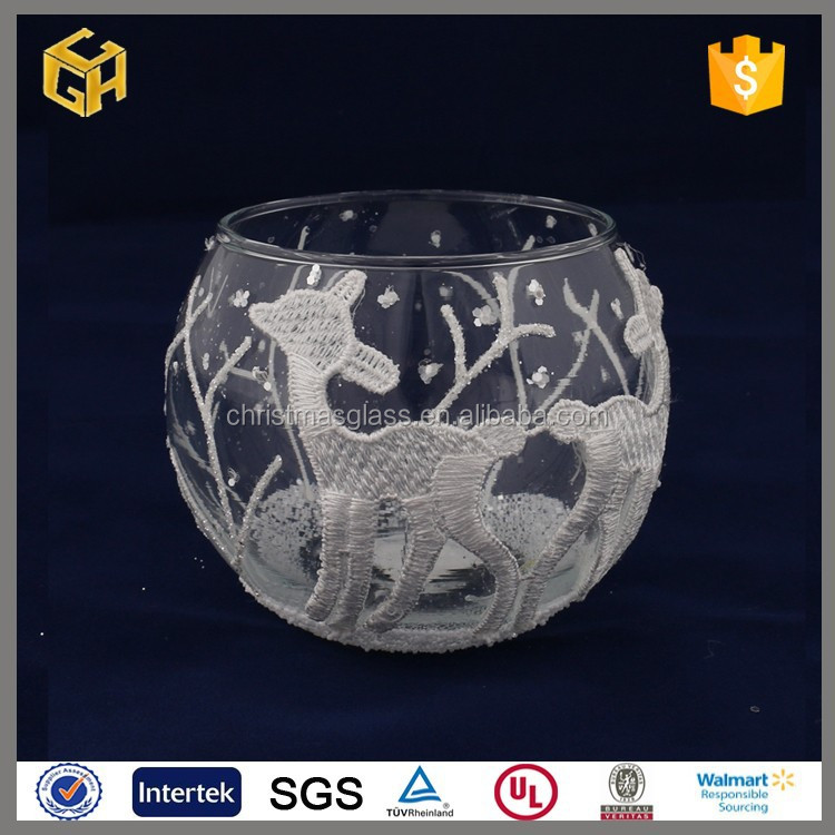 Wholesale deers pattern design clear christmas glass candle holder cup