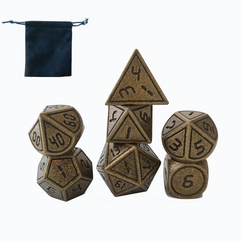 Custom size zinc alloy dice set including d4 d6 d8 <strong>d10</strong> d12 d20 D60