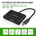 VOXLINK New DP to HDMI + VGA Audio 4K * 2k adapter cable DP TO HDMI / VGA HD cable black