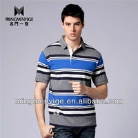 2015 Men's 100%cotton striped classic polo t shirt clothing hot sale