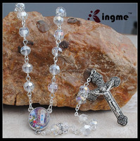 Bohemian Religious Clear Crsytal Beads Rosary Necklace with Cross Pendant
