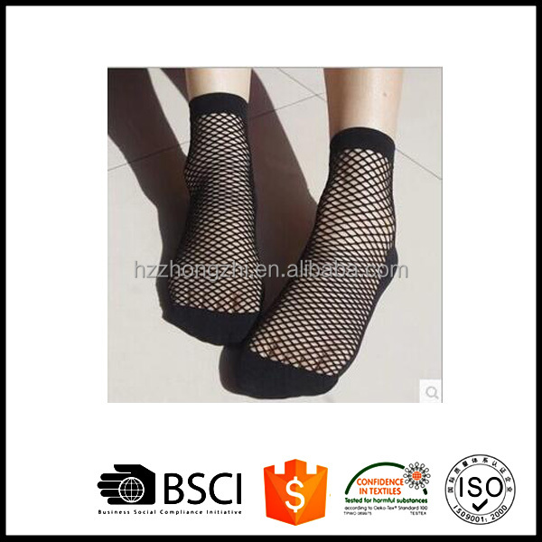 Women Summer Sollid Cotton Ankle Knit Mesh Lace Net Socks