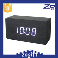 ZOGIFT 2016 New arrival best sell cheap cube digital led decorative wooden Desk clocks with alarm/Wooden alarm clock