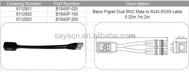 balun pigtail dual bnc male to rj45 rg59 cable 0 25m 1m 2m balun balun pigtail dual bnc male to rj45 rg59 cable 0 25m 1m 2m