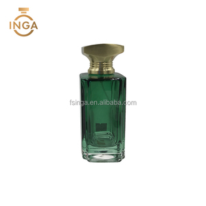 Popular 100ml Empty Green Arabic Style Glass Perfume Spray Bottle For Promotion Gift