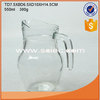 wholesale 550ml wide mouth clear glass water jug with side handle