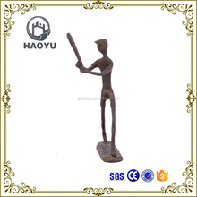 Casting iron metal art handicrafts small bronze sport men playing baseball statues Home decorating