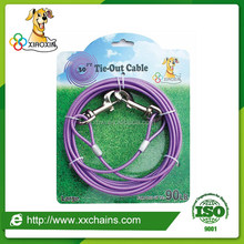 China quality certified pet collar & leash type colored 4.5mm thick pet dog tie-out cable