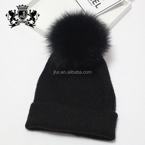 68947b9d05842 Custom size thick winter hat women with racoon fur pom pom