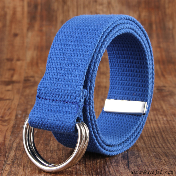 Coustomized men cotton canvas waist strap belts with alloy double buckle