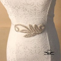 Dinah Factory Handmade High Quality Indian beaded belts Rhinestone crystal sew on Wedding dress belts and sashes XW10