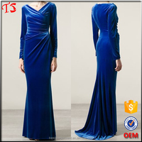 Alibaba china supplier royal blue prom dress muslim evening dress long sleeve maxi dress