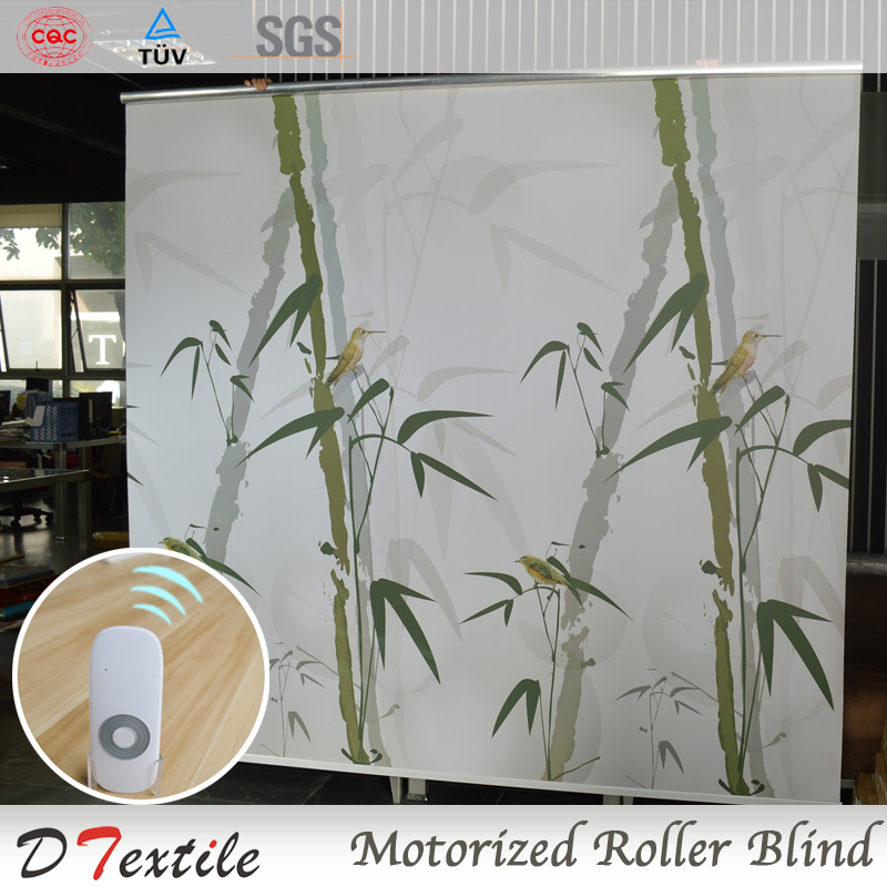Hotel Interior Decoration Motorized Roller Blinds With Printing Pattern on Blackout Fabirc