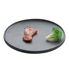 Chinese factory direct products ceramic glazed black round porcelain flat <strong>plates</strong>