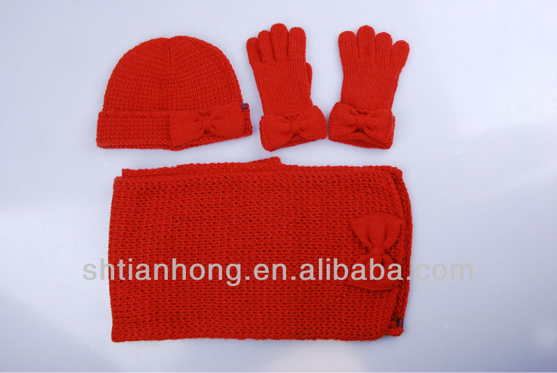 kids mohair red gloves hat and scarf set