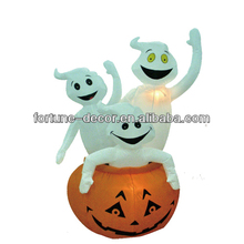 6ft Halloween inflatable pumpkin and white ghosts