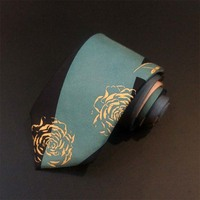 Hand made printed silk necktie