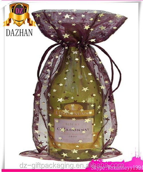Personalized Printed Organza Wine Bag /Organza Gift Wine Bags