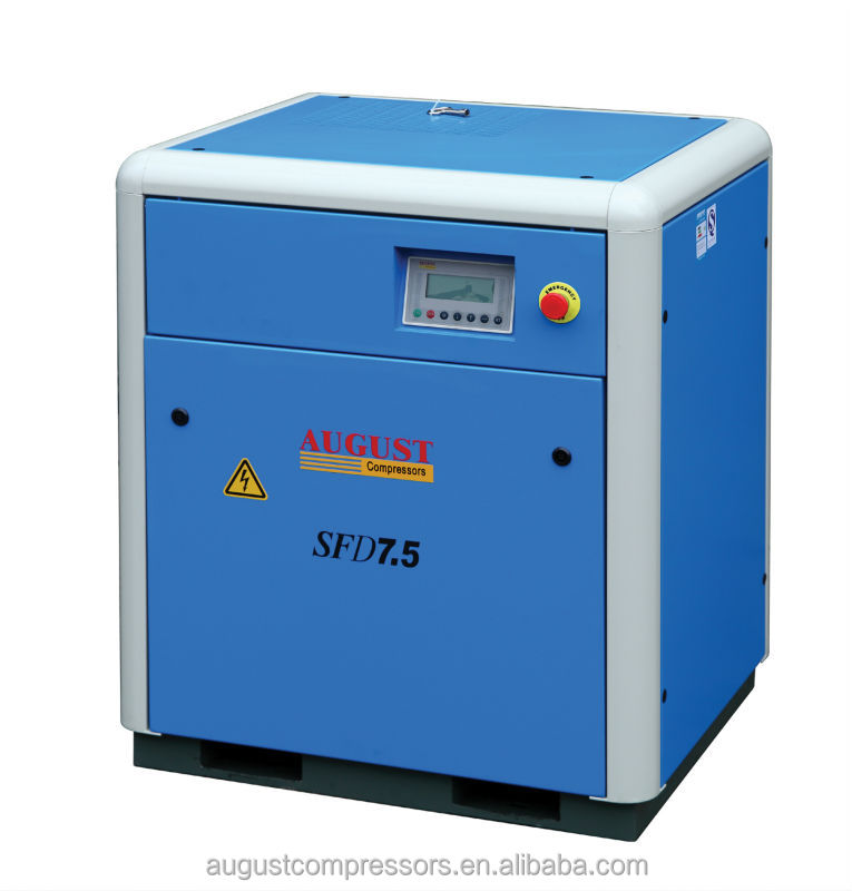 SFD7.5B 7.5KW/10HP 8 bar AUGUST stationary air cooled screw air compressor belt for air compressor