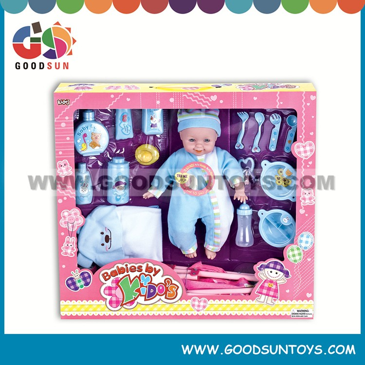 Best birthday gift for girl stuffed baby toy laughing doll with feeding set baby doll stroller set