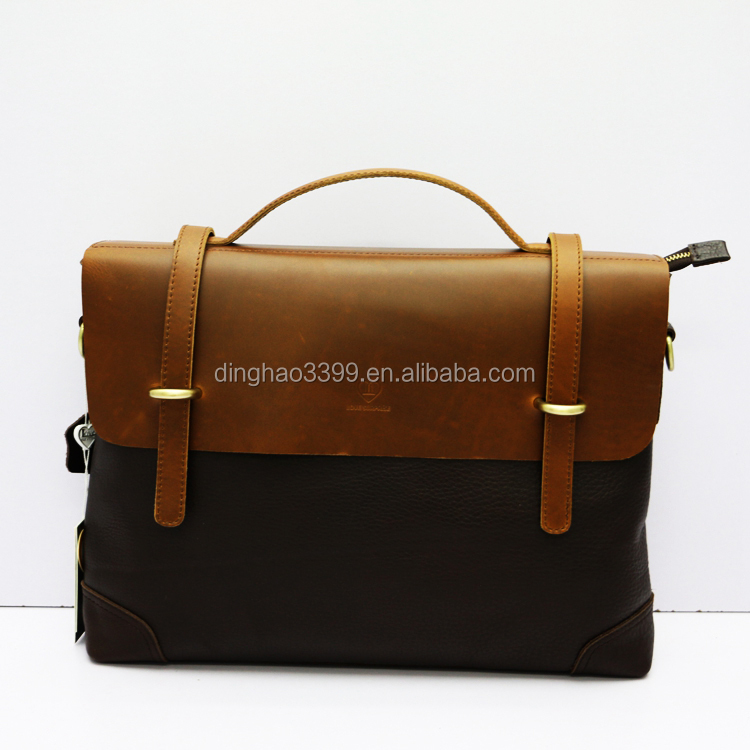 New multifunctional notebook Briefcase cowhide leather men's shoulder bag
