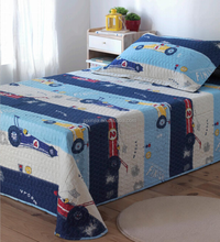 Car printed dark color quilts microfiber fabric bedding set