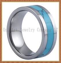 Newest design wholesale turquoise inside tungsten wedding ring