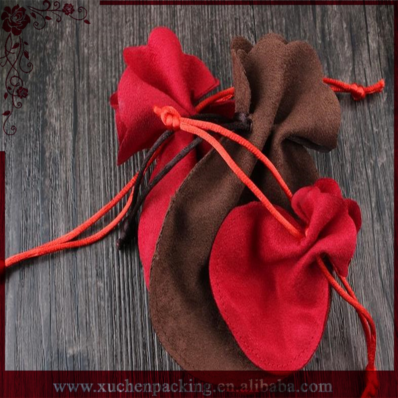 Round Drawstring Jewelry Package Double Side Micro Suede Velvet Pouches