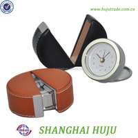 wholesale pu leather box travel clock