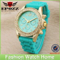 Luxury gold watches silicone diamond fashion promotional silicone wristband watch