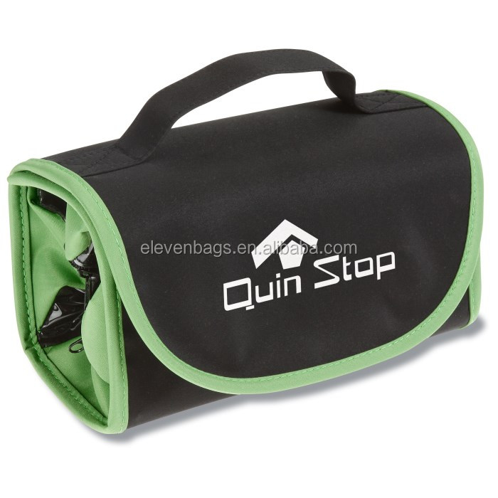 triangular compartments fold up nicely into a compact rectangular shape for packing plastic pvc toiletry bag travel pouch