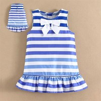 Summer Dresses Strips Design mom and bab Fashion Simple Beautiful Dress for Infant and Toddler Girls