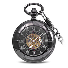 Simple Black Roman Mechanical Pocket Watch Mens Hands Scale Skeleton Pocket Watch with Chain As Xmas Fathers Day Gift
