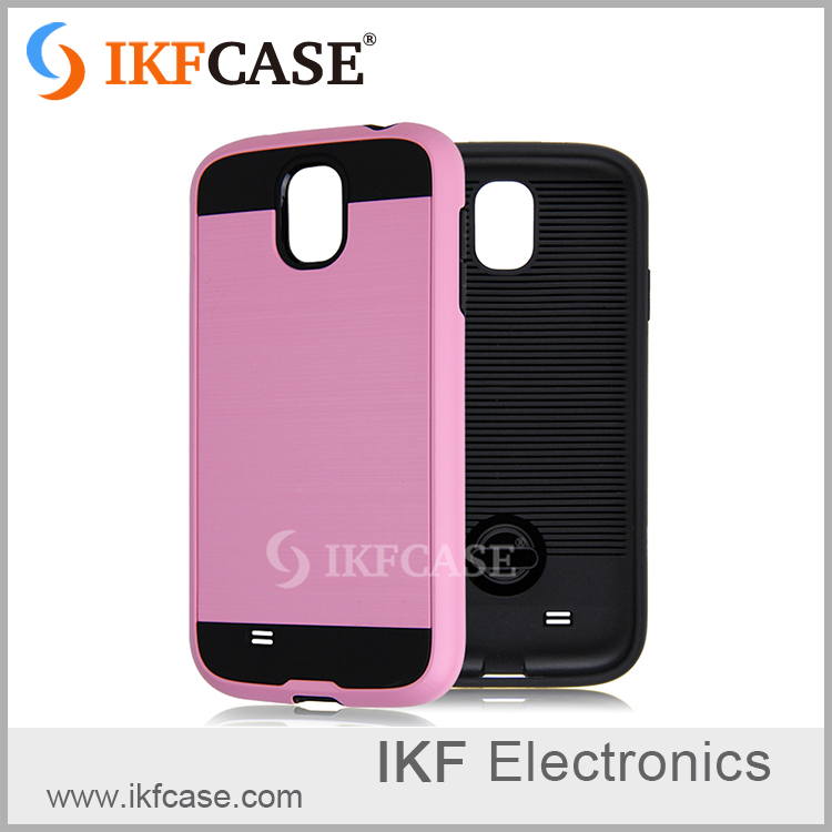 Factory price wiredrawing smooth PC soft hard cell phone case for Samsung S4 GALAXY