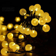 30 LED Warm White String Solar Powered Fairy Light Garden Outdoor Christmas Bulb