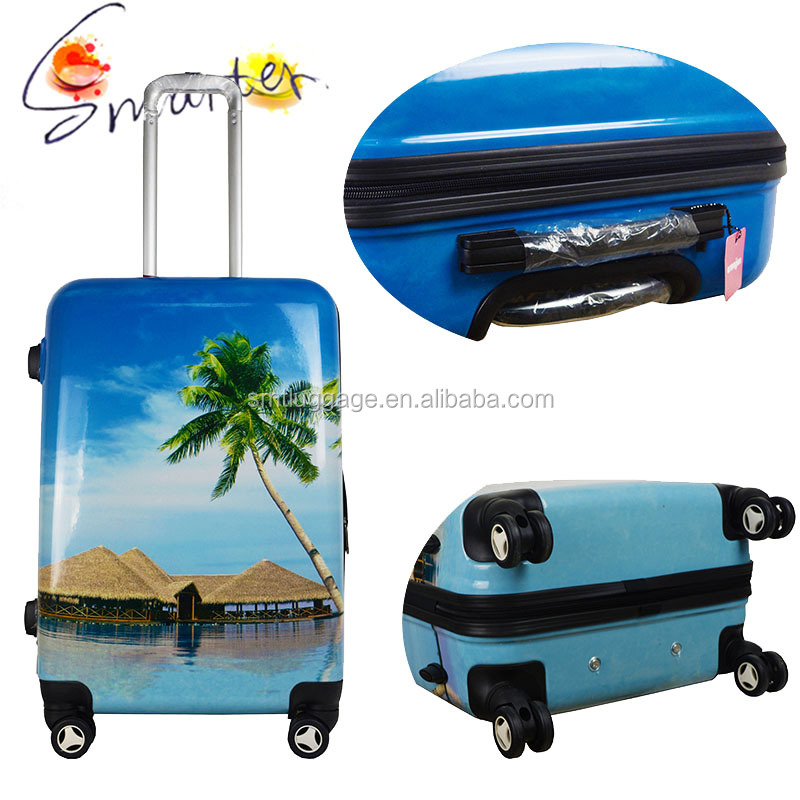 100% PC beach printed Luggage with aluminium trolley