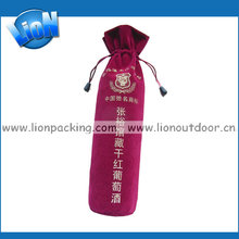 wholesale red wine velvet gift pouch bags with round handle