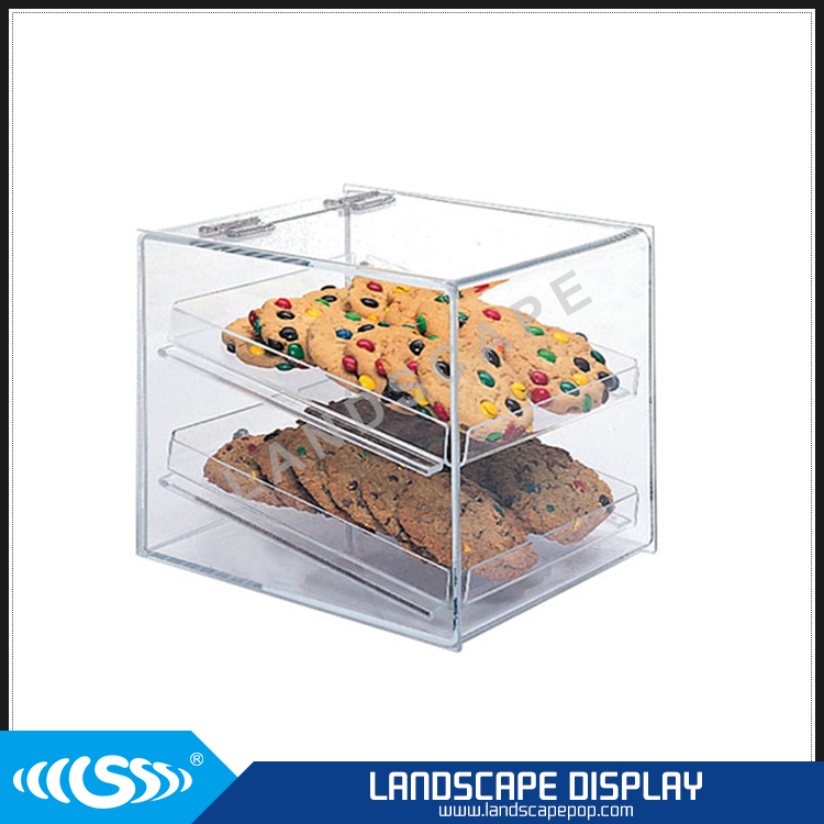 Custom made acrylic cookie display case / plexiglass countertop cookie display / cookie display box with lockable lid