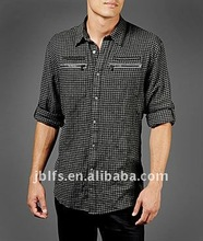 Western men's long sleeves fashion slim fit plaids zip pocket casual shirt