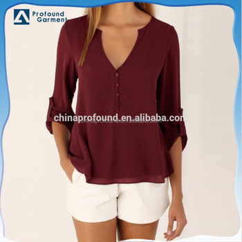 Summer fancy chiffon casual v neck red ladies blouse shirts
