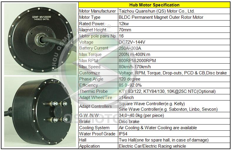 Qs Motor Customized 12000w 12kw Electric Car Wheel Hub