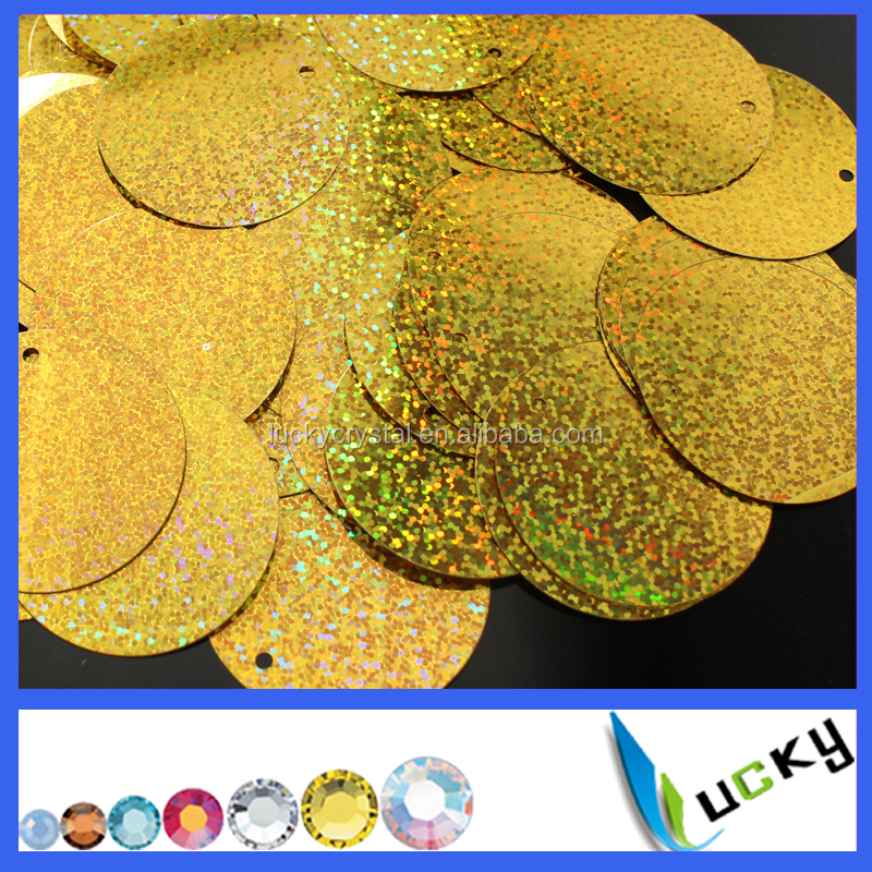 Colorful PET 30mm flat large round spangle sequins with side holes for clothes